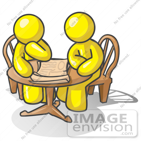 #37695 Clip Art Graphic of Yellow Guy Characters Planning at a Table by Jester Arts