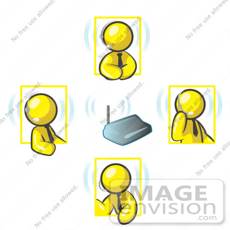 #37707 Clip Art Graphic of Yellow Guy Characters With Headsets, Talking in a Meeting by Jester Arts