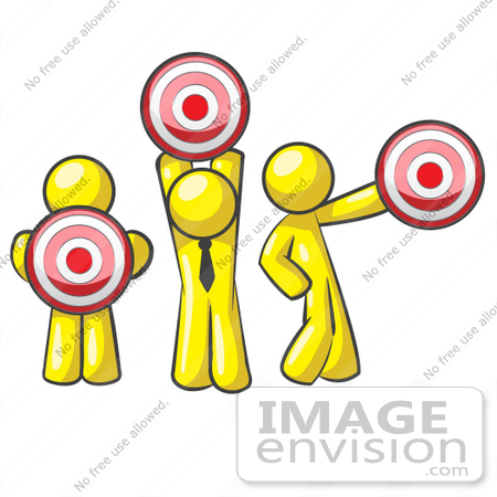 #37711 Clip Art Graphic of Yellow Guy Characters Holding Targets by Jester Arts