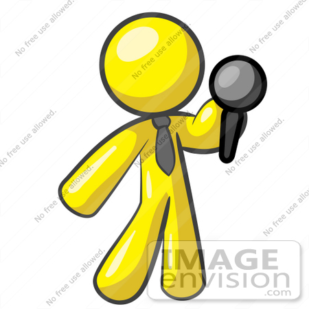 Clip Art Graphic of a Yellow Guy Character Holding a Microphone ...