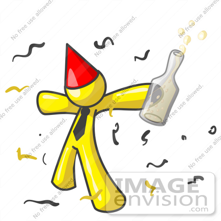 #37726 Clip Art Graphic of a Yellow Guy Character Partying by Jester Arts
