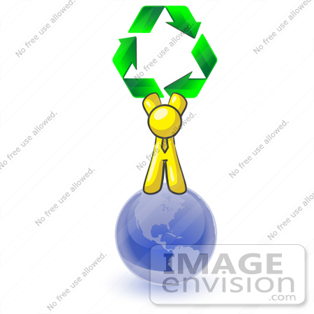 #37738 Clip Art Graphic of a Yellow Guy Character on a Globe With Recycle Arrows by Jester Arts