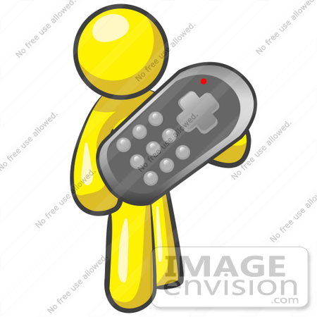 #37740 Clip Art Graphic of a Yellow Guy Character Holding a Remote Control
