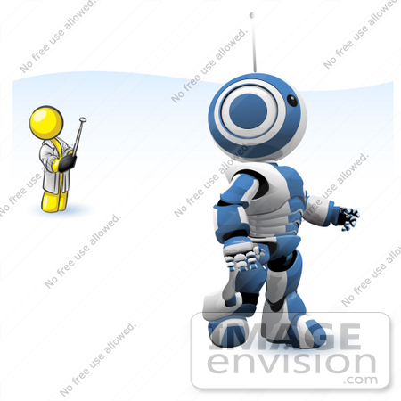 #37742 Clip Art Graphic of a Yellow Guy Character Controlling a Robot by Jester Arts