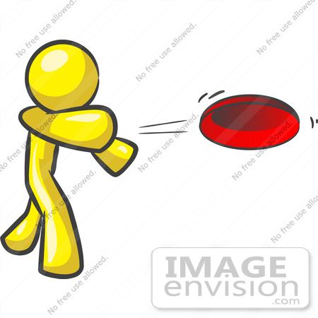 clip art graphic of a yellow guy character throwing a frisbee rh imageenvision com frisbee clipart free throwing frisbee clipart