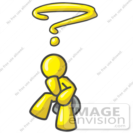 #37756 Clip Art Graphic of a Yellow Guy Character Wondering by Jester Arts