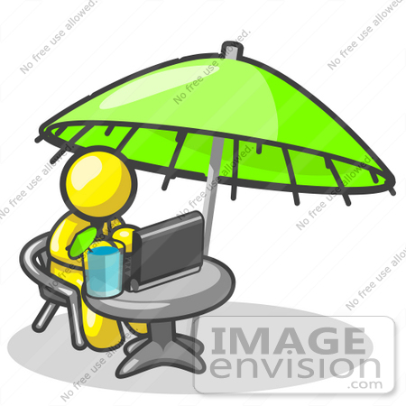 #37758 Clip Art Graphic of a Yellow Guy Character Working on a Laptop Under an Umbrella by Jester Arts
