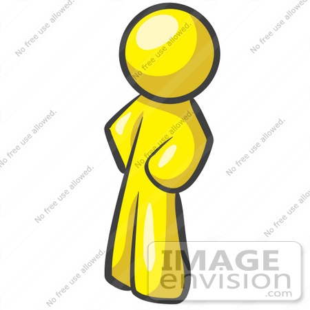 #37760 Clip Art Graphic of a Yellow Guy Character Standing With His Hands on His Hips by Jester Arts