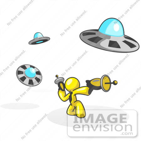 #37768 Clip Art Graphic of a Yellow Guy Character Fighting UFOs by Jester Arts