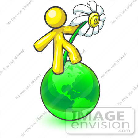 #37775 Clip Art Graphic of a Yellow Guy Character With a Daisy on a Globe by Jester Arts