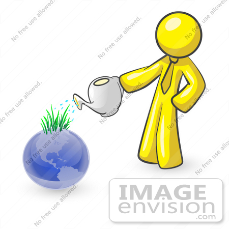 #37781 Clip Art Graphic of a Yellow Guy Character Watering Earth by Jester Arts