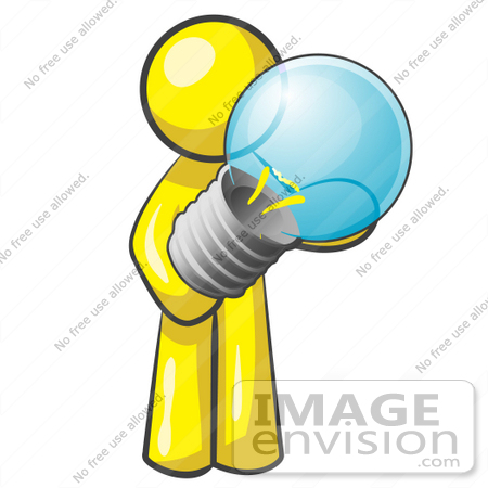#37782 Clip Art Graphic of a Yellow Guy Character Holding a Light Bulb by Jester Arts