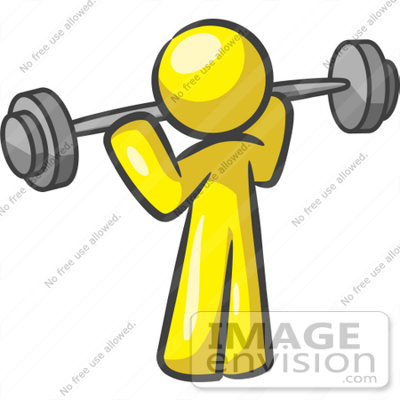 #37788 Clip Art Graphic of a Yellow Guy Character Exercising With a Barbell by Jester Arts