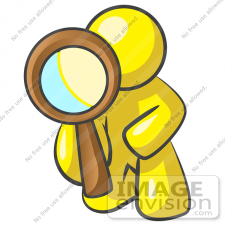 #37791 Clip Art Graphic of a Yellow Guy Character Kneeling and Using a Magnifying Glass by Jester Arts