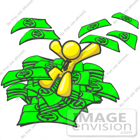 clip art graphic of a yellow guy character jumping into a pile of rh imageenvision com