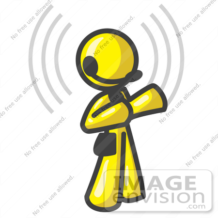 #37816 Clip Art Graphic of a Yellow Guy Character Wearing a Headset, With Signals by Jester Arts