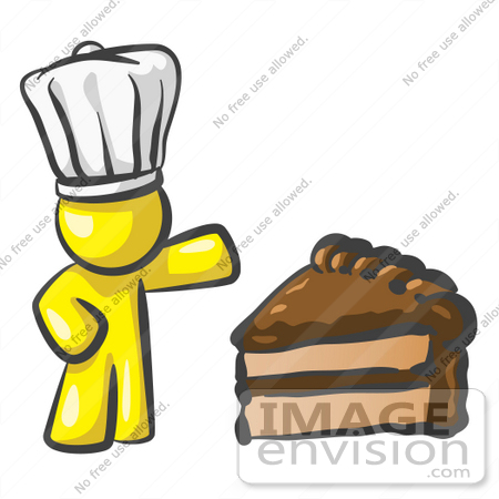 #37817 Clip Art Graphic of a Yellow Guy Character Chef With Chocolate Cake by Jester Arts