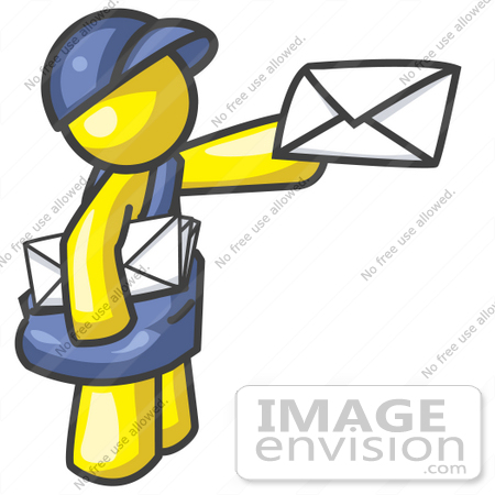 #37822 Clip Art Graphic of a Yellow Guy Character Delivering Mail by Jester Arts