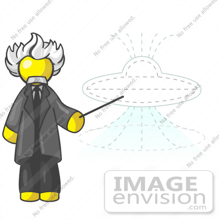 #37823 Clip Art Graphic of a Yellow Guy Character as Albert Einstein, Pointing to a UFO by Jester Arts