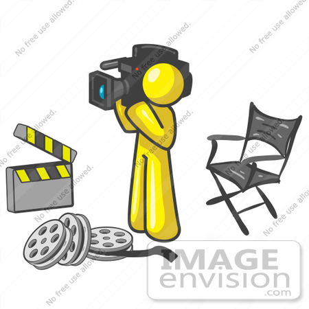 #37833 Clip Art Graphic of a Yellow Guy Character Filming a Movie by Jester Arts