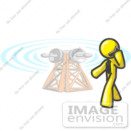 #37844 Clip Art Graphic of a Yellow Guy Character Talking on a Phone by a Tower by Jester Arts