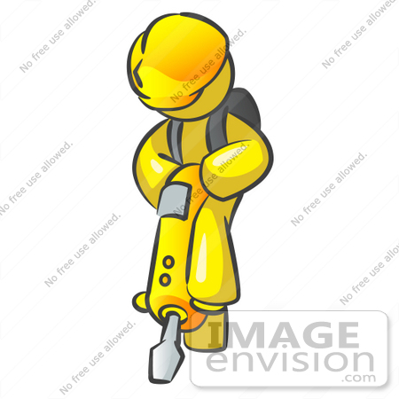 #37845 Clip Art Graphic of a Yellow Guy Character Operating a Jack Hammer by Jester Arts