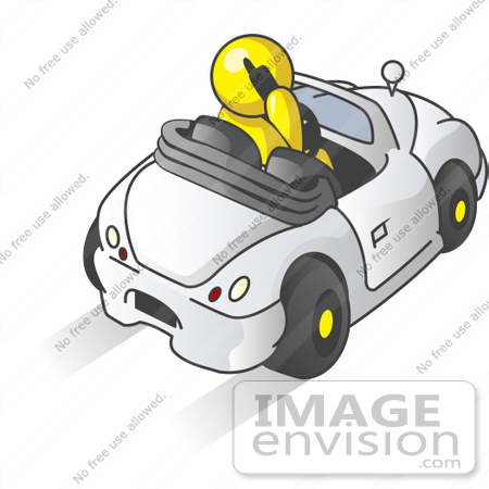 #37854 Clip Art Graphic of a Yellow Guy Character Talking on a Phone and Driving by Jester Arts