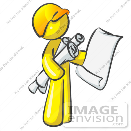 #37856 Clip Art Graphic of a Yellow Guy Character With Blueprints by Jester Arts
