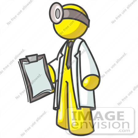 #37863 Clip Art Graphic of a Yellow Guy Character Doctor Wearing a Head Lamp by Jester Arts