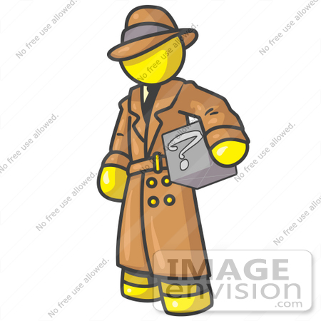 #37864 Clip Art Graphic of a Yellow Guy Character Investigator Carrying a Box by Jester Arts