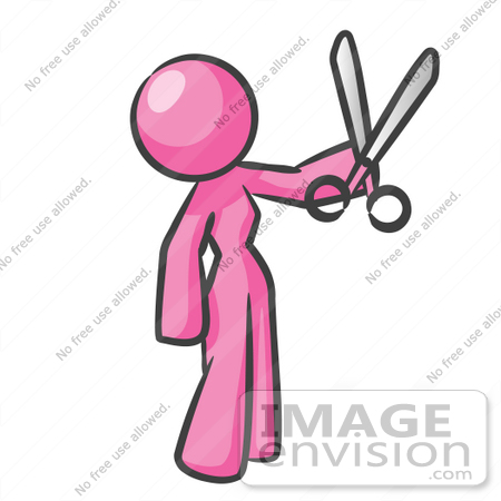 #37870 Clip Art Graphic of a Pink Lady Character Holding Scissors by Jester Arts