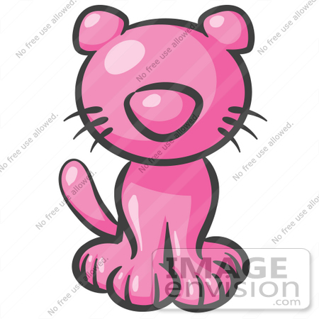 #37885 Clip Art Graphic of a Pink Kitty Cat Sitting by Jester Arts