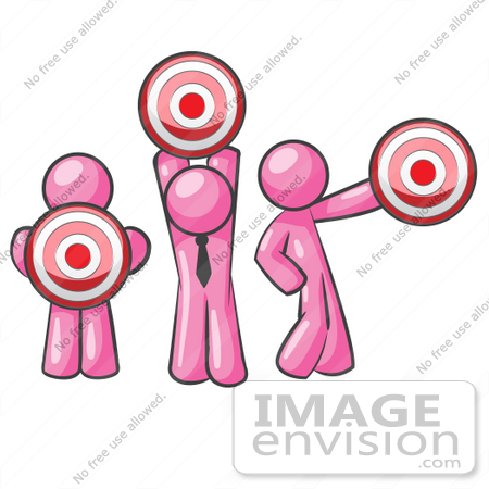 #37894 Clip Art Graphic of Pink Guy Characters Holding Targets by Jester Arts