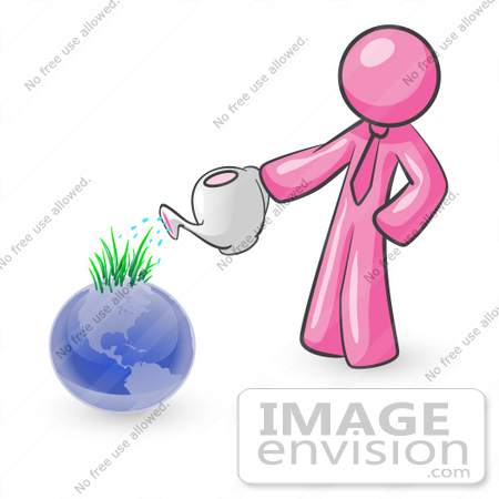 #37908 Clip Art Graphic of a Pink Guy Character Watering Earth by Jester Arts