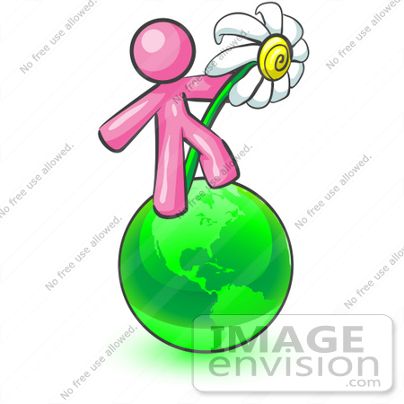 #37915 Clip Art Graphic of a Pink Guy Character With a Daisy on a Globe by Jester Arts