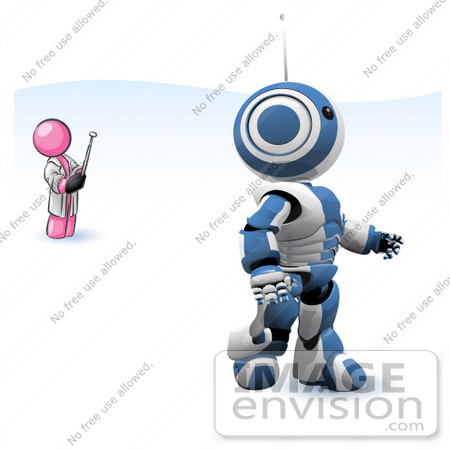 #37920 Clip Art Graphic of a Pink Guy Character Controlling a Robot by Jester Arts