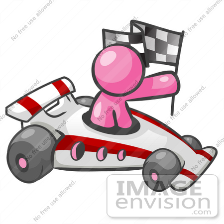 Auto Racing Clipart Graphics on 37951 Clip Art Graphic Of A Pink Guy Character Racing A Car By Jester