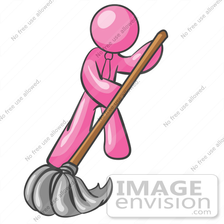 #37964 Clip Art Graphic of a Pink Guy Character Mopping by Jester Arts