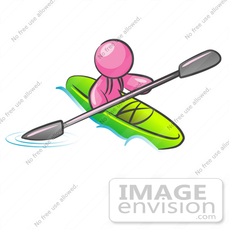 #37982 Clip Art Graphic of a Pink Guy Character Kayaking by Jester Arts