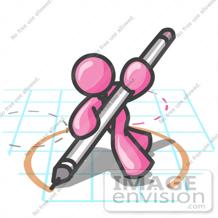 #37999 Clip Art Graphic of a Pink Guy Character Drawing a Circle on Graph Paper by Jester Arts