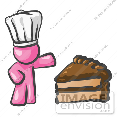 #38005 Clip Art Graphic of a Pink Guy Character Chef With Chocolate Cake by Jester Arts