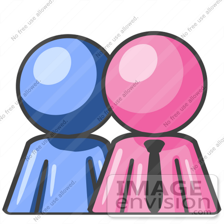 #38008 Clip Art Graphic of a Pink Guy Character and Blue Employee by Jester Arts