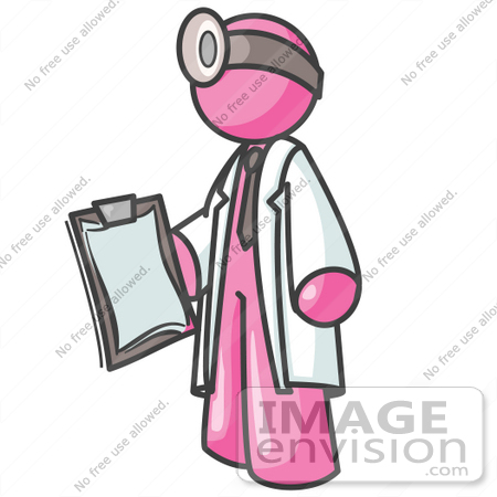 #38010 Clip Art Graphic of a Pink Guy Character Doctor Wearing a Head Lamp by Jester Arts