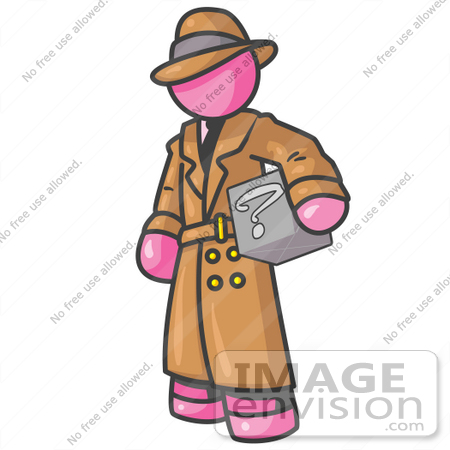 #38035 Clip Art Graphic of a Pink Guy Character Investigator Carrying a Box by Jester Arts