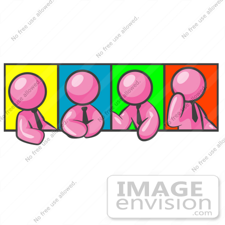 #38044 Clip Art Graphic of a Pink Guy Character in Different Poses With Colorful Backgrounds by Jester Arts