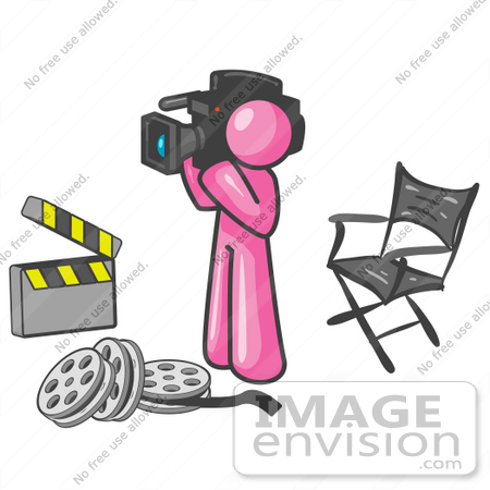 #38045 Clip Art Graphic of a Pink Guy Character Filming a Movie by Jester Arts