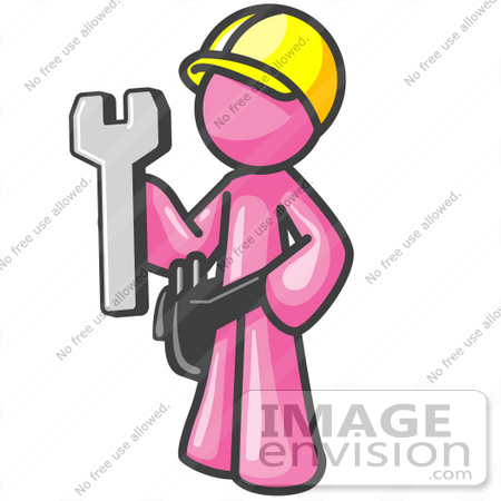 #38048 Clip Art Graphic of a Pink Guy Character Holding a Wrench by Jester Arts
