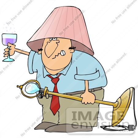 38111 Clip Art Graphic Of A Drunk Cacuasian Man Holding Up Glass Wine