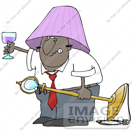 #38114 Clip Art Graphic of a Drunk African American Man Holding up a Glass of Wine and Wearing a Lamp Shade by DJArt