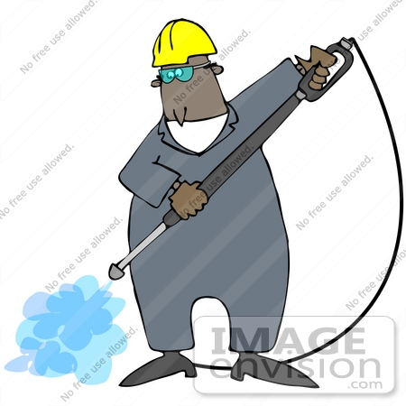 #38117 Clip Art Graphic of an African American Man Spraying a Ground With a Pressure Washer by DJArt